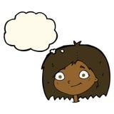 与想法泡影的动画片愉快的女性面孔 免版税库存图片