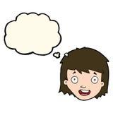与想法泡影的动画片愉快的女性面孔 库存照片