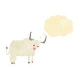 与想法泡影的动画片长毛的母牛 免版税库存图片