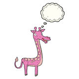与想法泡影的动画片长颈鹿 图库摄影