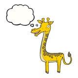 与想法泡影的动画片长颈鹿 免版税图库摄影