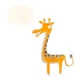 与想法泡影的动画片长颈鹿 库存照片