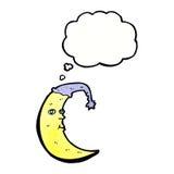 与想法泡影的困月亮动画片 库存照片