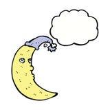 与想法泡影的困月亮动画片 免版税库存图片