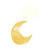 与想法泡影的愉快的动画片月亮 图库摄影