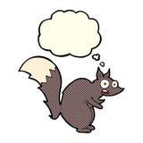 与想法泡影的滑稽的被震惊的灰鼠动画片 库存照片