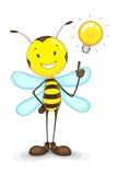 与想法电灯泡的蜂 免版税库存图片
