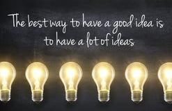 与想法行情的电灯泡 库存照片
