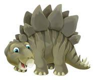 与愉快和滑稽的恐龙剑龙的动画片场面-在白色背景 向量例证