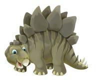 与愉快和滑稽的恐龙剑龙的动画片场面-在白色背景 库存例证