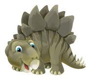 与愉快和滑稽的恐龙剑龙的动画片场面-在白色背景 皇族释放例证