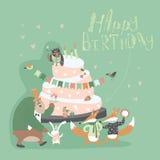 与愉快的动物的生日背景 免版税库存照片