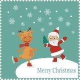 与愉快的圣诞老人和兔子的贺卡滑冰 免版税库存照片