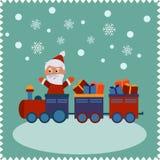 与愉快的圣诞老人的贺卡 免版税库存照片