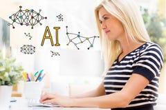 与愉快的少妇的AI在计算机前面 免版税库存图片
