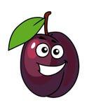 与愉快的微笑的动画片李子 免版税库存照片
