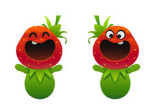 与愉快的微笑的逗人喜爱的草莓果子字符 库存图片