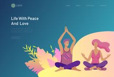 与愉快的恋人关系,与做瑜伽的浪漫夫妇的场面的登陆的页模板 字符情人节 向量例证