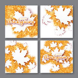 与愉快的感恩天标题的4秋天贺卡 库存图片
