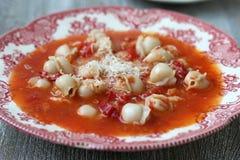 与意大利式饺子的蕃茄汤 免版税图库摄影
