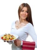 与意大利意大利面食的妇女牌照 库存图片