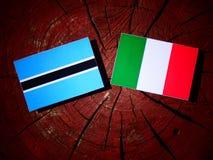 与意大利旗子的博茨瓦纳旗子在被隔绝的树桩 皇族释放例证