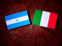 与意大利旗子的尼加拉瓜的旗子在被隔绝的树桩 向量例证