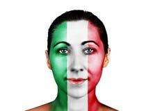 与意大利旗子的面孔 库存照片