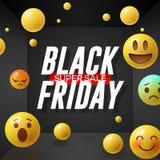 与意思号微笑的面孔的黑星期五超级销售海报,黑背景 免版税库存图片