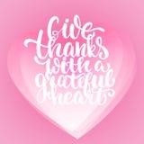 给与感恩的心脏-感恩天字法书法词组的感谢 秋天在白色的贺卡 图库摄影