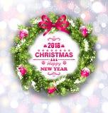 与愿望的圣诞节花圈新年快乐的2018年 祝贺卡片模板 库存例证