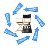 与戏院样式的箭头在Chair,电影拍板a主任附近 库存照片