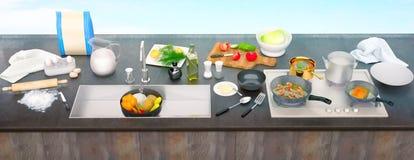 与成份和器物的厨房用桌 顶视图 全景 库存照片