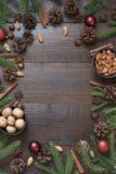 与成份的圣诞节边界烹调的与拷贝空间的假日食物 库存照片