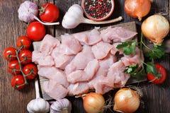 与成份的新鲜的火鸡肉烹调的 免版税库存照片