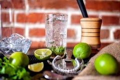 与成份的新做的薄荷的mojito鸡尾酒饮料在酒吧 免版税库存照片