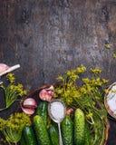 与成份的新鲜的庭院黄瓜保存的:盐、莳萝和大蒜匙子在土气木背景,顶视图 库存图片