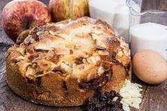 与成份的新鲜的被烘烤的苹果饼 库存照片