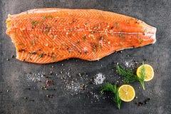 与成份的未加工的三文鱼鱼排在餐馆喜欢柠檬、胡椒、海盐和莳萝在黑板,现代美食术 库存照片