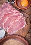 与成份的未加工的猪肉炸肉排 免版税库存图片