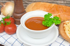 与成份的蕃茄汤 库存照片