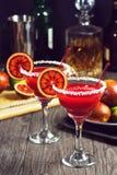 与成份的血橙玛格丽塔酒 免版税库存图片
