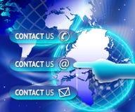 与我们联系按钮世界 免版税图库摄影