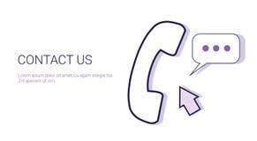 与我们联系用户支持信息企业概念模板与拷贝空间的网横幅 免版税图库摄影