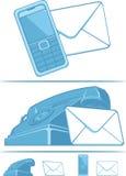 与我们联系符号-电话&邮件 免版税库存图片