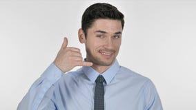 与我们联系,告诉我由商人,白色背景打手势 股票视频