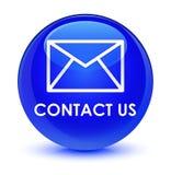 与我们联系(电子邮件象)玻璃状蓝色圆的按钮 向量例证