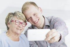 与我心爱的祖母的Selfie 库存照片