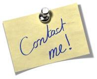 与我联系通知单附注 免版税图库摄影