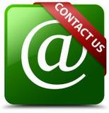 与我们联系电子邮件象绿色正方形按钮 免版税库存照片